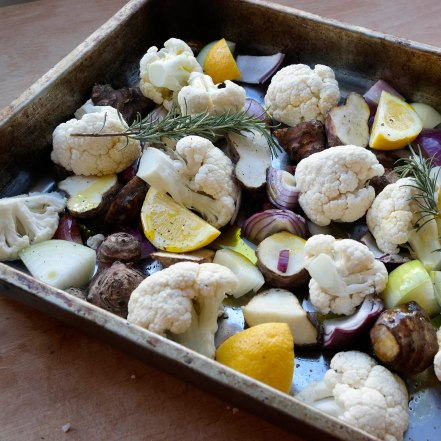 roasting tray and veg