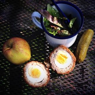 scotch egg and salad