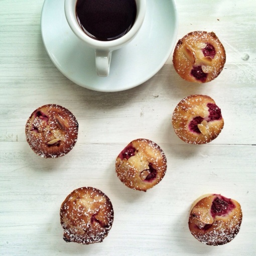 raspberry friands and coffee