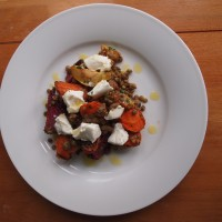 Autumnal Root Vegetable Salad with Goats Cheese and Lentils